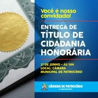 CÂMARA ENTREGARÁ TÍTULOS DE CIDADANIA HONORÁRIA NESTA QUINTA-FEIRA