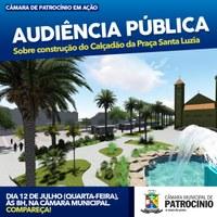 Câmara Municipal realiza Audiência Pública nesta quarta-feira, dia 12/07, às 8 horas