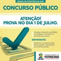PROVAS DO CONCURSO DA CÂMARA DE PATROCÍNIO SERÃO REALIZADAS NO PRÓXIMO DOMINGO